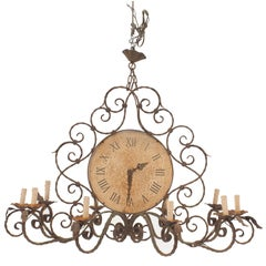English Country or Rustic Wrought Iron Chandelier