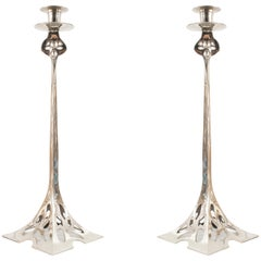 Pair of English Arts & Crafts Silver-Plated Pewter Candlesticks