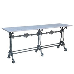 Antique French Cast Iron and Marble Cafe ~ Sofa Table