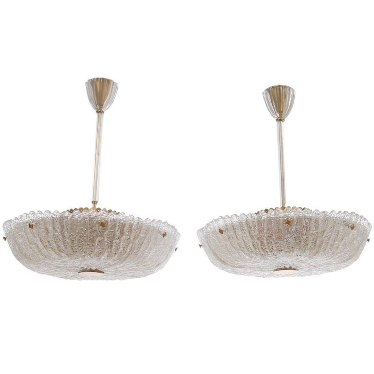 Orrefors Chandeliers by Carl Fagerlund crystal/brass Large pair, Sweden