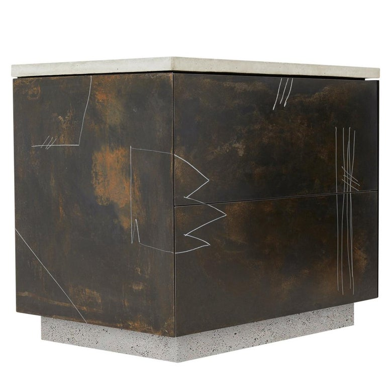 S.O. Side Table with Drawers and Drawn Faces in Walnut, Steel and Cast Concrete