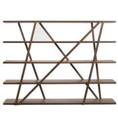 Pacini & Cappellini Tres Bookcase in Walnut by Norberto Delfinetti & Monica Bern