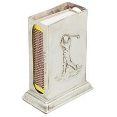 Silver Golf Matchbox Holder