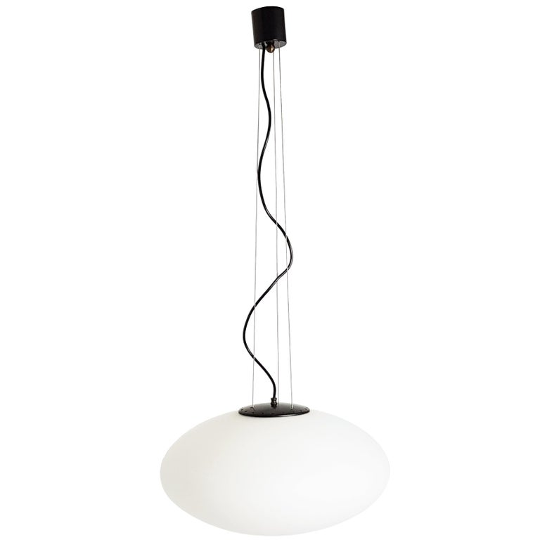 Italian Black and White Oval Shade 1960s Pendant in the Style of Stilnovo