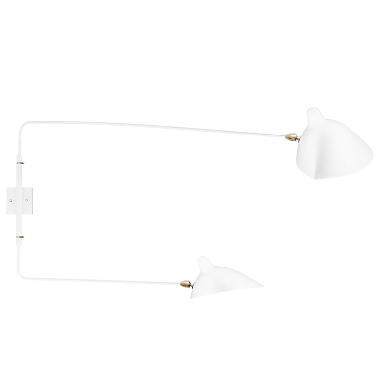Serge Mouille White Two Rotating Straight Arms Sconce Lamp