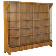 Bookcase Mahogany Glass Vintage Manufactured in Italy, 1950s