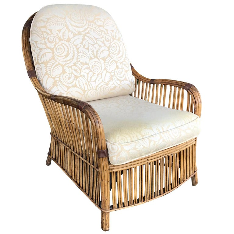 Early 20th Century Reed Armchair with Upholstered Seat and Back