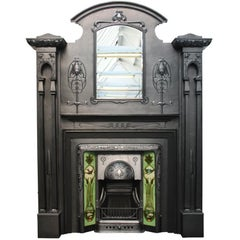 Spectacular and Rare Tall Art Nouveau Edwardian Cast Iron Fireplace Surround