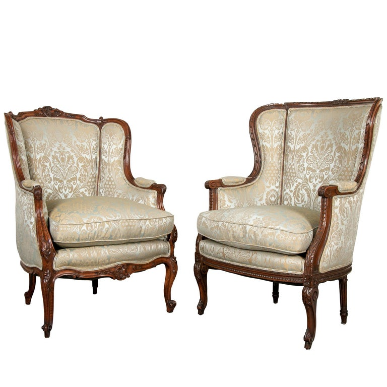 Fine Pair of Compatible Antique French Upholstered Wing Chairs For Sale - Fine Pair Of Compatible Antique French Upholstered Wing Chairs For