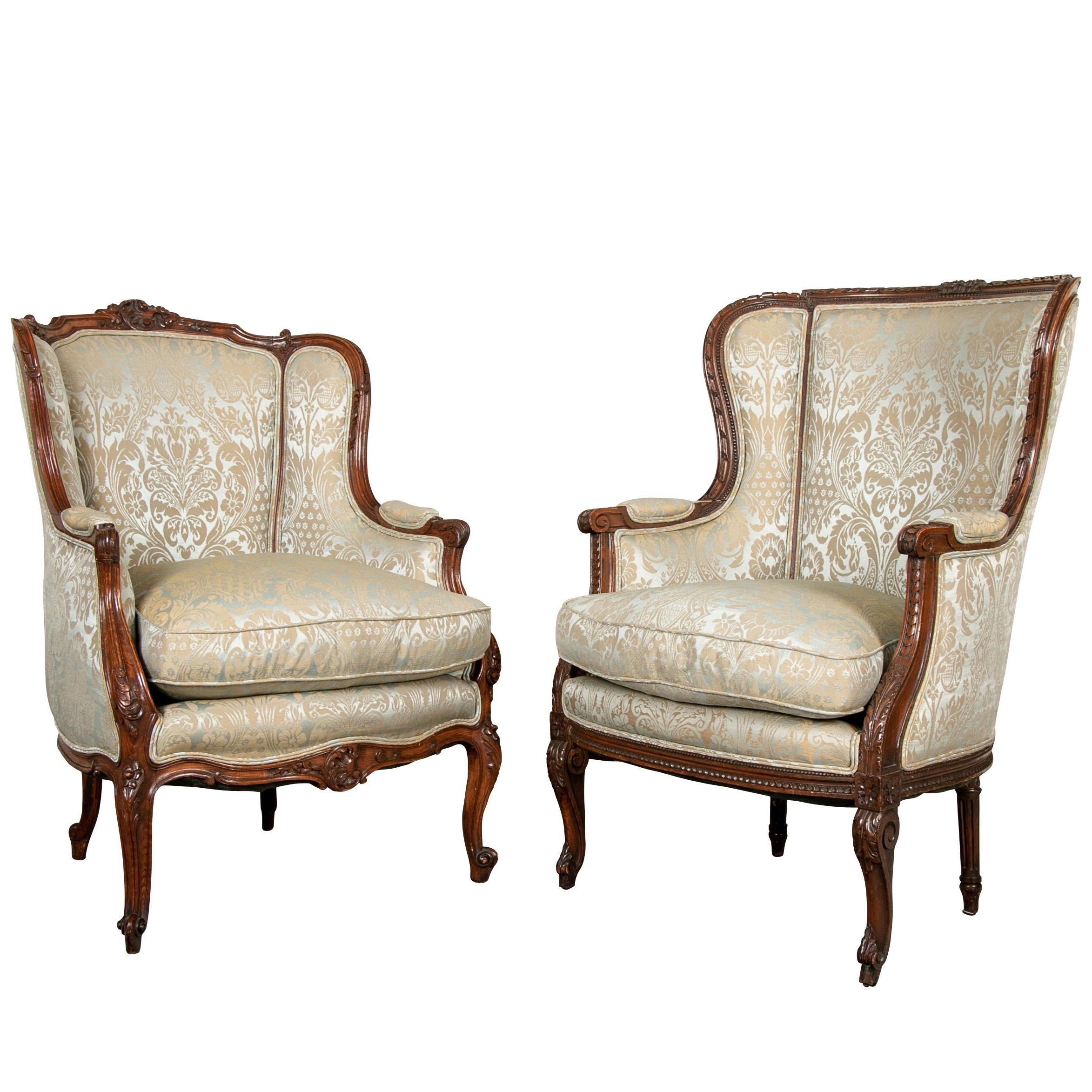 Superieur Fine Pair Of Compatible Antique French Upholstered Wing Chairs For Sale