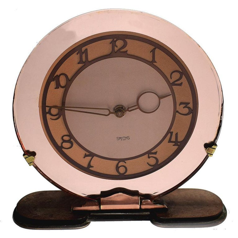 English 1930s Art Deco Peach Mirrored Clock