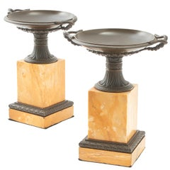 Pair of Grand Tour Cast Bronze and Sienna Marble Tazza, Italy, circa 1850
