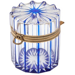 Clear and Blue Cut Crystal Box with Bronze Mounts, French, 20th Century