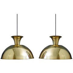 Pair of Huge and Rare Solid Brass Pendant Lamps by Florian Schulz, 1960s
