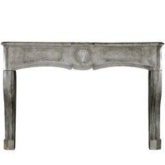 18th Century Fine European Grey Marble Stone Antique Fireplace Mantle