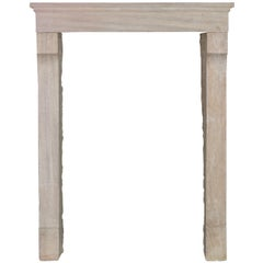 Petite Fine French Country Style Limestone Fireplace Surround