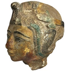 Highly Decorative Polychromed Limestone Head in the Egyptian Style