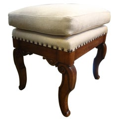 Antique French Charles X Walnut Ottoman