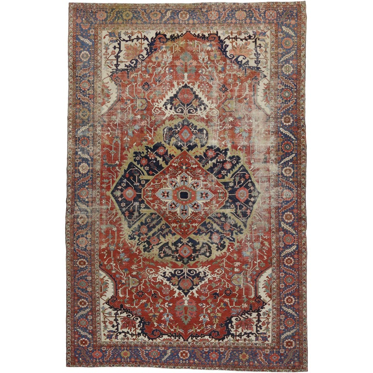 Distressed Antique Persian Serapi Rug with Modern Industrial Style