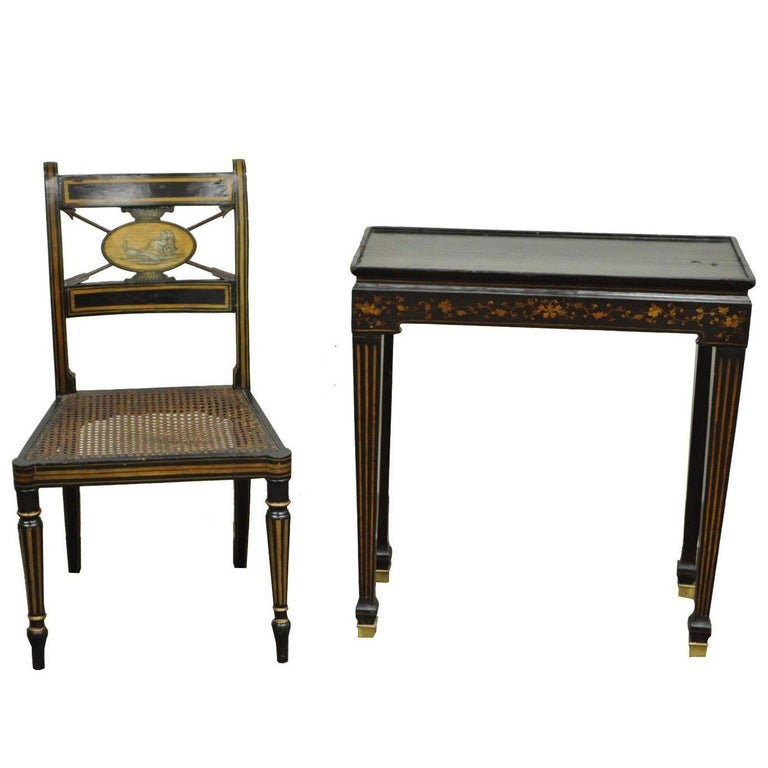 Antique Neoclassical Black Lacquered Desk Telephone Table Stand and Accent  Chair - American Telephone Chair At 1stdibs