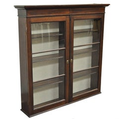 Antique American Colonial Glass Front Mahogany Display Cupboard Hutch Curio
