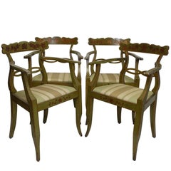 Four Green Painted Armchairs with Trailing Ivy, Northern European, 19th Century