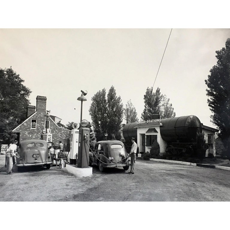 Vintage 1950s Gas Station Photograph For Sale