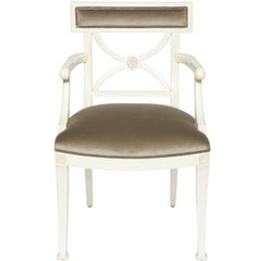 Schumacher Westminster Gainsborough Velvet Grey Hand-Carved Beechwood Armchair