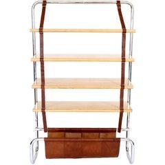 "Luigi Massoni Leather and Oak ""Jumbo"" Bookshelf"