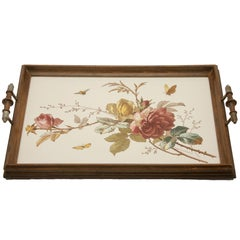 Antique Tray with Art Nouveau Tile Panel with Rose Decoration Hand-Painted