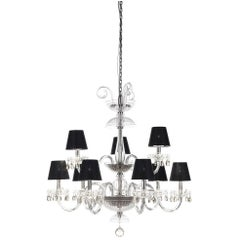 Gianfranco Ferré Teti Chandelier in Steel and Glass with Black Shades