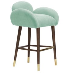 Art Deco Style Blue Linen with Brass Sabots Dining Chair Patagonia