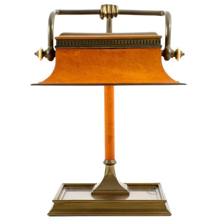 Brass and Leather Bankers Lamp by Chapman For Sale