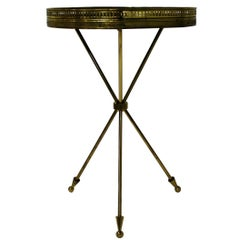 Vintage Italian Side Table Made from Brass and Wood, 1950s