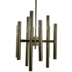 Vintage Gaetano Sciolari Candle Chandelier Made from Chrome, 1970s