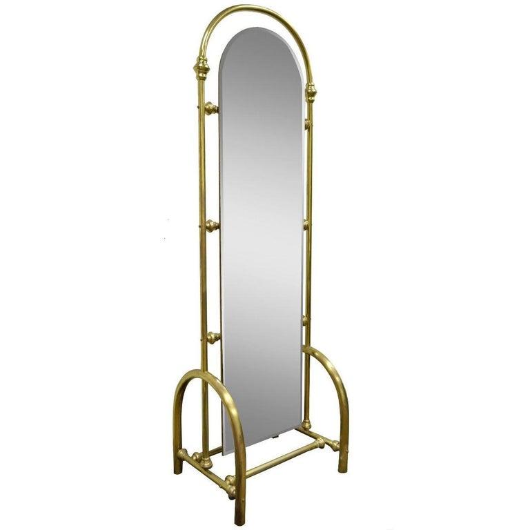 Vintage Tall Brass Glass Hollywood Regency Victorian Cheval Dressing Mirror