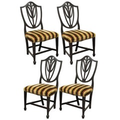 Four Antique Sheraton Shield Back Plume Drape Carved Mahogany Dining Side Chairs