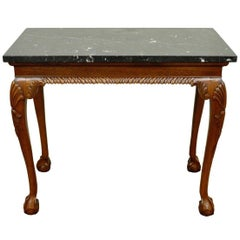 Vintage Carved Mahogany Chippendale Sty Ball and Claw Marble-Top Console Table B