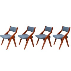 Vintage Scandinavian Teak Wooden Dining Chairs, 1960s