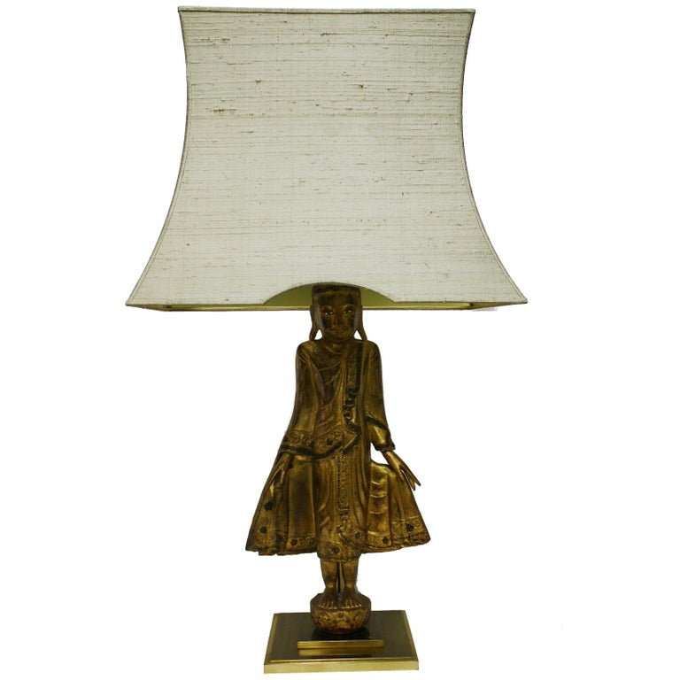 Large Carved Giltwood Buddha Table Lamp, 1960s