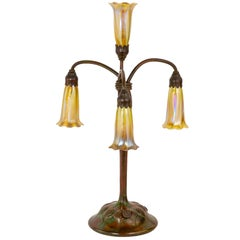 Art Nouveau Four-Light Lily Table Lamp by Tiffany Studios