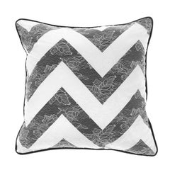 Gianfranco Ferrè Burlesque Chevron Pillow in Grey & White in Silk & Lace