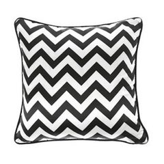 Gianfranco Ferré Chevron Large Pillow in Black & White Stripes in Silk & Velvet