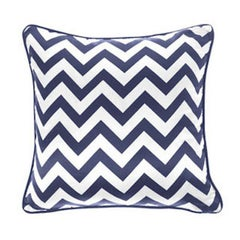 Gianfranco Ferré Chevron Large Pillow in Blue and White Stripes in Silk & Velvet