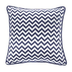 Gianfranco Ferré Chevron Medium Pillow in Blue & White Stripes in Silk & Velvet