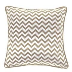 Gianfranco Ferré Chevron Medium Pillow in Beige & White Stripes in Silk & Velvet