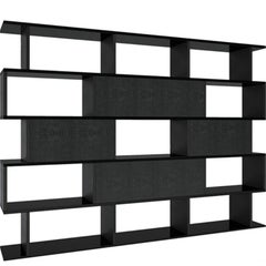 In and Out Bookshelf in Black Leather and Iron by Cristina Jorge de Carvalho