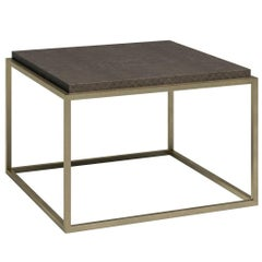 Empty Cube Side Table in Brushed Brass and Leather by Cristina Jorge de Carvalho