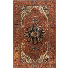 Antique Persian Heriz Serapi Rug Carpet, circa 1890