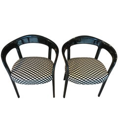 Pair of Two Art Deco Armchairs, Black Polish, France circa 1930